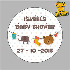 30 Personalised Baby Shower Stickers - 50mm Diam labels