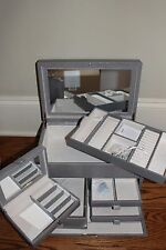 NIB Pottery Barn McKenna leather large jewelry box gray lizard grey
