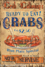 WEATHERED CALLOWAYS CRAB BUILDING SIGN DECAL 3X2  MORE SIZES AVAIL