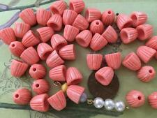 Vintage 9mm Ribbed Mottled Coral Plastic Bead Caps 24