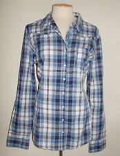 GUESS LOS ANGELES MS SIZE X-LARGE BLUE PLAID LONG SLEEVE SNAP FRONT  SHIRT