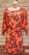 PRIMARK PEACH PINK BROWN FLORAL SILKY LONG  CAMI BLOUSE  TOP T SHIRT TUNIC 10 S