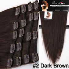 5A Remy Black Brown Blonde Clip in Remy Human Hair Extensions Full Head US SU926