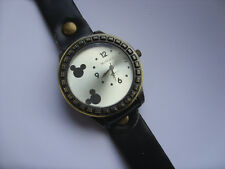 Smart Adults Mickey // Minnie Mouse Quartz Watch Black Leather  Strap