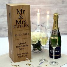 Personalised Wooden Wine Box with Hinged Lid and Silk Lining in Red & Blue