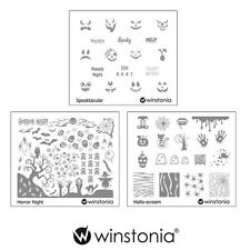 Winstonia Set 9 Halloween Nail Art Stamping Image Plates Spooky Horror Templates