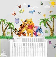 Winnie The Pooh Wall Stickers Animal Butterfly Palm Tree Nursery Baby wall Decal