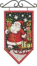 Counted Cross Stitch Kit Mini Banner  WINTER Christmas Santa