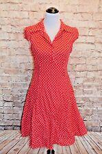 Modcloth Hepcat Soda Fountain Dress NWOT L Red white Dots shirt Dress Rockabilly