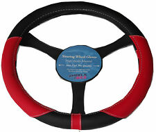 Citreon Berlingo universal 37-39cm Leather Look Steering Wheel Glove Cover RED