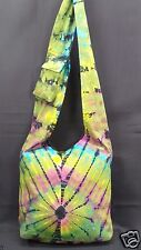 Tie Dye Purse Green Multi Color Cotton Hippie Boho Hobo Shoulder Bag Tote NWT