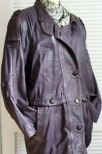 WOMENs Aviator LONG COAT RAISIN PURPLE L GENUINE LEATHER EXQUISITE from Turkey
