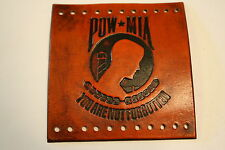 Custom Heavy Duty Light Brown Leather Motorcycle Grip Covers POW/MIA Charity