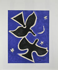 """Bird in Blue"" by Georges Braque Original Lithograph Poster 28""x23"""