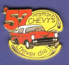 CHEVY 57 NEVER DIE HAT PIN LAPEL TIE TAC ENAMEL BADGE #0832 RE