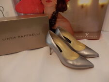 COST £175 LINEA RAFFAELLI MOTHER OF BRIDE LEATHER 3 INCH HIGH HEEL SHOES CHROME