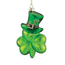 St Patrick's Day Shamrock with Hat Glass Ornament Noble Gems Collection New