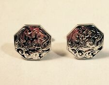 Vintage Swank Octagon Silver Plated Scroll Cuff Links .75 Inch Diameter