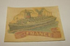 ORIG 1960s S.S. FRANCE FRENCH OCEAN LINER / SHIP WINDOW DECAL STICKER ON BACKING
