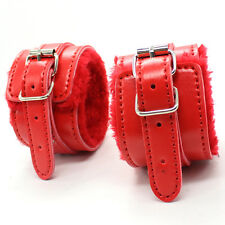 High Quality Red Fur Bondage Ankle Cuffs - kinky fetish restraint sexy
