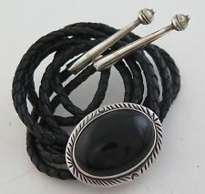 Elegant Sterling Silver & Black Onyx Stamped Southwestern Bolo Tie
