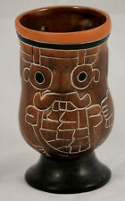 Vintage Mexican Ceramic Vase Hand Made/Painted Folk Art Decorative Mexico Mayan