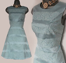 Karen Millen Light Blue Satin Applied Lace Stripe Cocktail Dress sz-12/40 £170