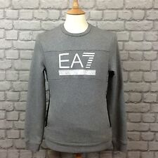 EA7 EMPORIO ARMANI MENS UK S GREY BLOCK PANEL LOGO FLEECE SWEATSHIRT JUMPER