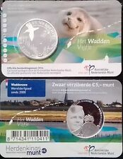Netherlands Holland 5 euro 2016 Wadden Sea National Park Seal AG Silver UNC