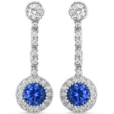 Dangle Style Cubic Zirconia & blue Sapphire Round .925 Sterling Silver Earring