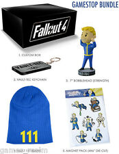 "Fallout 4 Loot Bundle - 7"" Vault Tec Bobblehead 111 + Beanie, Magnets, Keychain"