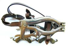 HORSE MOUTH GAG EQUINE DENTAL SPECULUM BROWN LEATHER STAINLESS STEEL SPARE BITS