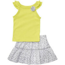 New Carter's Girls Lime Tank Top & Gray White Leopard Skirt Skort Set 12 Months