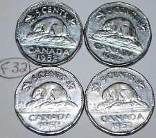 Canada 1952 5 Cents x 4 George VI Canadian Nickel Steel Five Cent Lot #F32