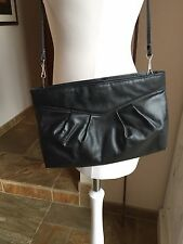 Vintage Salisburys Leather Clutch/Handbag -Black 1970s/80s