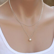 Succinct Boho Pearl Multilayer Chain Necklace Lady Statement Charm Fashion New
