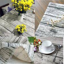 50x150cm Cotton Linen Fabric DIY Upholstery Home Deco Table Cover Wood Grain