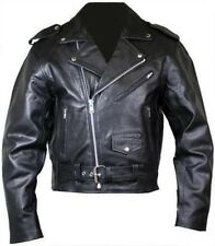 Mens Motorcycle Perfecto Brando 100% Leather Jacket Black Biker L,XL Free P&P UK