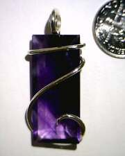 35.48ct Emerald Faceted Deep Purple Amethyst Pendant in Sterling Silver