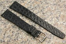 18mm STYLECRAFT BLACK Crocodile Grain Watch Band NOS Strap Made in Canada #288