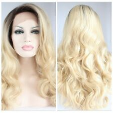 "Women's 24"" Synthetic Lace Front Wig Curly Wavy Full Wig Black Ombre Blonde Hair"