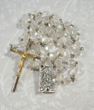 Vintage Catholic Our Lady of Lourdes Crystal Rosary Clear Crystal Beads ITALY
