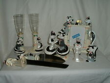 Lot Pepe le Pew & Penelope Wedding Cake Topper,Knife&Server,Flutes,Frame&Shakers
