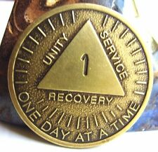 Alcoholics Anonymous AA 1 Year Month Sunshine Bronze Medallion Token Coin Chip