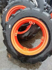 TWO New 11.2x24 Kubota R 1 Tractor Tires on Reconditioned 4 Loop Wheels