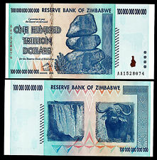 ONE Zimbabwe 100 Trillion Dollars, AA /2008 Series, P-91, UNC, Banknote Currency