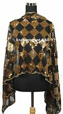 New Elegant Oblong Checks Lace Scarf Shawl Wrap w/ Sequins, Black/Golden