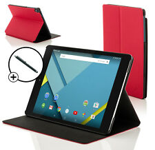Leather Red Clam Shell Case Cover for HTC Google Nexus 9 With Stylus