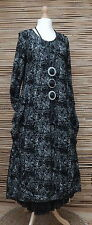 LAGENLOOK*AMAZING STUNNING QUIRKY A-LINE 2 POCKETS  LONG DRESS*BLACK*SIZE XXS