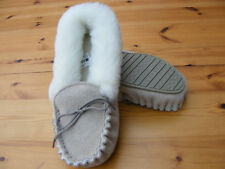 LADIES UK5 Suede Leather Sheepskin Moccasin Slippers Hard Sole Size EU 37/38US 7